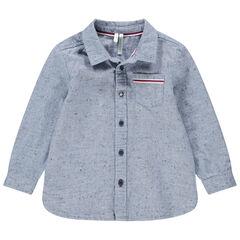 Camisa de manga larga de algodón neps con bolsillo tipo parche
