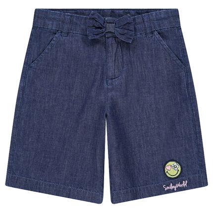 Shorts largos de cambray con ©Smiley bordado