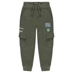 Pantalón de chándal de felpa con parches y bolsillos