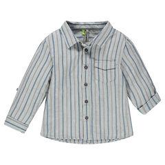 Camisa de manga larga a rayas con bolsillo