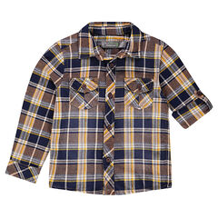 Camisa de cuadros con mangas que se pueden recoger