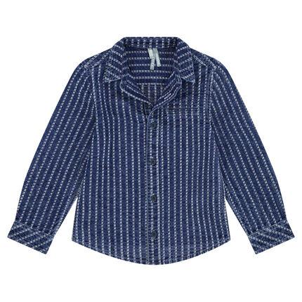 Camisa de manga larga de algodón de fantasía con efecto vaquero