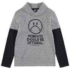 Júnior - Camiseta de manga larga con efecto 2 en 1 y estampado de Smiley