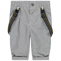 Pantalón de finas rayas y tirantes desmontables con forro de punto