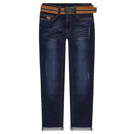 Júnior - Vaqueros con efecto gastado y arrugado y cinturón extraíble