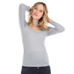 Camiseta de premamá con manga larga de punto y cuello de fantasía