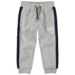 Pantalón de chándal de felpa gris jaspeada con bandas que contrastan