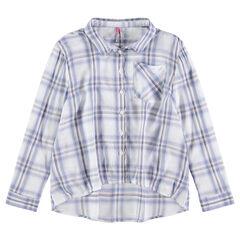 Júnior - Camisa de manga larga de cuadros con corte asimétrico