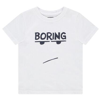 Camiseta de manga corta de punto con mensaje estampado y personaje