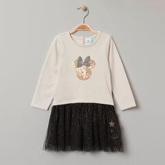 Vestido mangas largas efecto 2 en 1 estampado Minnie Disney en lentejuelas