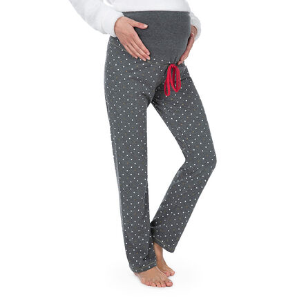 Pantalón de premamá homewear con lunares estampados all over