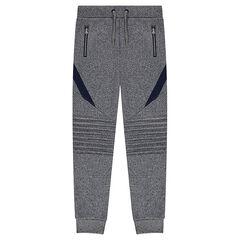 Júnior - Pantalón de jogging de muletón liso con juego de cortes y pliegues