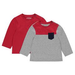 Pack de 2 camiseta de manga larga con bolsillo
