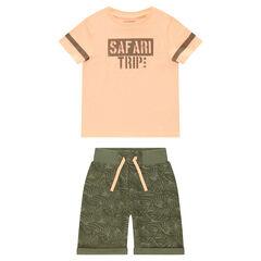 Conjunto de camiseta estampada y bermudas de felpa estampadas