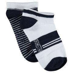 Juego de 2 pares de calcetines cortos con rayas de jacquard