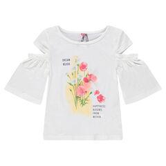 Camiseta de manga corta con hombros calados y flores estampadas