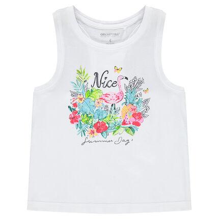 Camiseta de algodón sin mangas con estampado de fantasía por delante