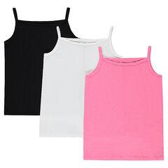 Júnior - Pack de 3 camisetas lisas sin mangas de punto