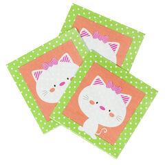 Juego de 20 servilletas de cumpleaños de papel con dibujo de gato , Prémaman