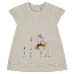 Vestido sin mangas de punto tricotado con cervatillo estampado y detalles bordados