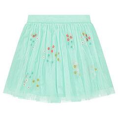 Falda con volantes de tul con flores bordadas