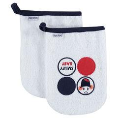 Juego de 2 manoplas de baño de toalla con parches Smiley