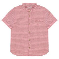 Camisa de manga corta de algodón de fantasía y cuello mao