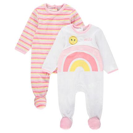 juego de 2 pijamas de terciopelo con rayas y arco iris