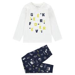 Pijama de punto con letras estampadas y pantalón con estampado all over