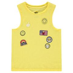 Camiseta sin mangas de algodón con parches de ©Smiley