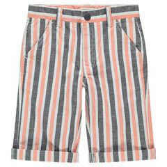 Júnior - Bermudas con rayas verticales que contrastan all-over