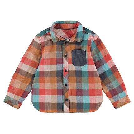 Camisa de manga larga a cuadros con bolsillo de cambray