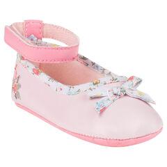 Zapatos merceditas con cinta con estampado de flor con lazo