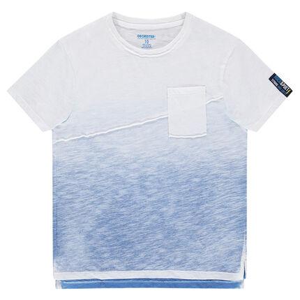 Júnior - Camiseta de punto slub con efecto tie and dye con corte y bolsillo