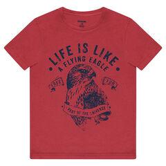 Camiseta de manga corta de punto con águila estampada