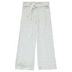 Júnior - Pantalón ancho de encaje con motivo floral