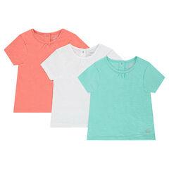 Pack de 3 camisetas lisas de manga corta