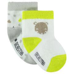 Juego de 2 pares de calcetines con motivos de fantasía y toques fluorescentes
