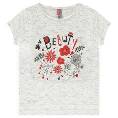 Camiseta de manga corta de punto jaspeado con estampado floral brillante