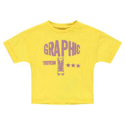 Camiseta amarilla de manga corta de punto con estampado de fantasía en relieve
