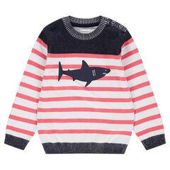 Jersey de punto efecto marinera con estampado de tiburón