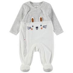 Pijama de terciopelo bicolor con orejas de relieve y detalles estampados