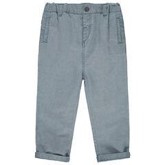 Pantalón jaspeado de tela con bolsillos