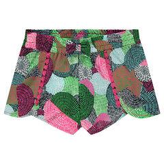 Pantalón amplio con flecos de crepé con estapado gráfico