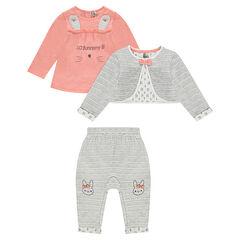 Conjunto de 3 piezas con camiseta estampada, chaqueta y pantalón de muletón