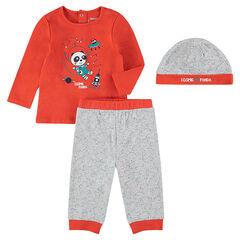 Pijama de 3 piezas con camiseta con panda estampado, gorro y pantalón con estampados all over