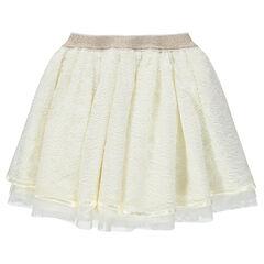 Falda de ceremonia de encaje con forro de tul y cintura brillante