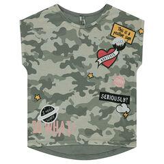 Júnior - Camiseta de manga corta con forma cuadrada de punto con estampado