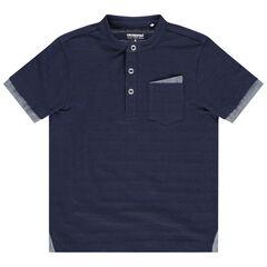 Camiseta de manga corta con cuello mao y bolsillos con rayas de jacquard , Orchestra