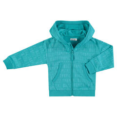 Chaqueta con capucha de felpa copn inscripciones all over